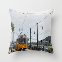 Yellow Budapest Tram Photography Throw Pillow