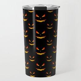 Cool scary Jack O'Lantern face Halloween pattern Travel Mug