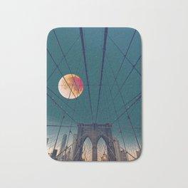 Blood Moon over the Brooklyn Bridge and New York City Bath Mat