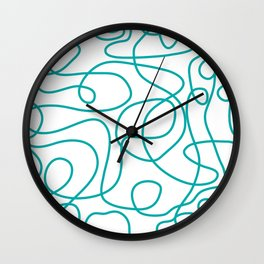 Doodle Line Art | Teal Green Lines on White Background Wall Clock