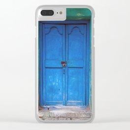 Blue Indian Door Clear iPhone Case