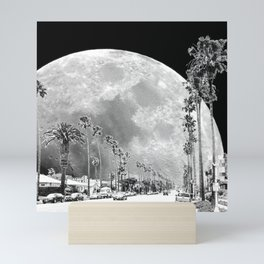 California Dream // Moon Black and White Palm Tree Fantasy Art Print Mini Art Print