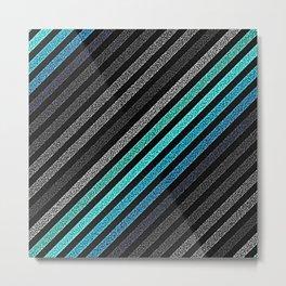 stripeS : Slate Gray Teal Blue Pixels Metal Print