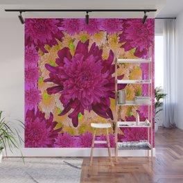 Stylized  Burgundy Purple & Yellow Chrysanthemums Floral Garden Wall Mural