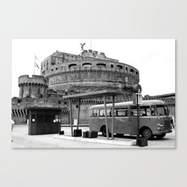 Castel Sant Angelo between past and present B/N Canvas Print