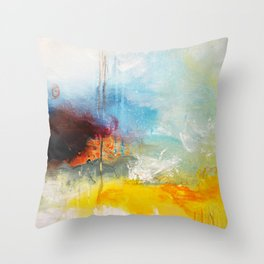 Abstract Blue Gold Digital Art from Original Painting Throw Pillow