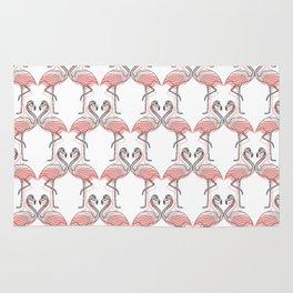 Modern Black White Pink Kissing Flamingos Pattern Rug