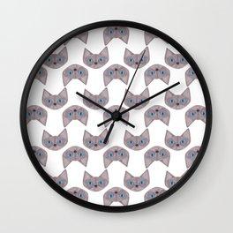 Grey Cat Head with Blue Eyes Wall Clock