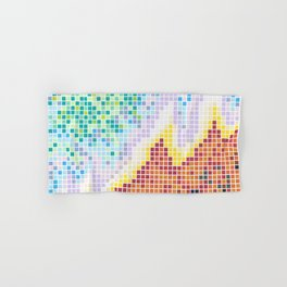 Pixelated Nebula Red Hand & Bath Towel