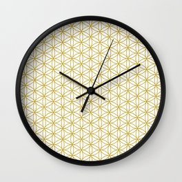 Flower of Life Pattern – Gold & White Wall Clock