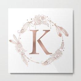 Letter K Rose Gold Pink Initial Monogram Metal Print
