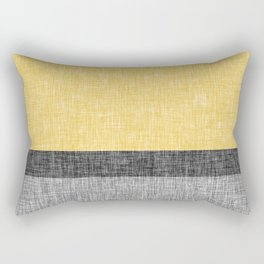 Yellow Grey and Black Section Stripe and Graphic Burlap Print Rectangular Pillow