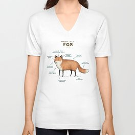 Anatomy of a Fox Unisex V-Neck