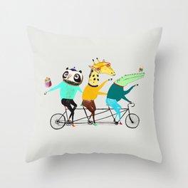 Animals biking. bike art, bike decor, bikes. Throw Pillow