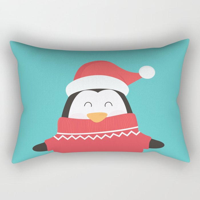 Little Penguin in Ugly Christmas Sweaters Rectangular Pillow