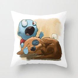 Zombies like to bite stuff too. Throw Pillow