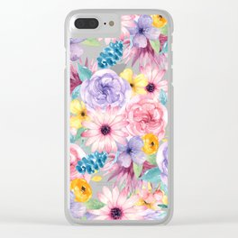 Modern elegant pink lavender yellow watercolor floral Clear iPhone Case