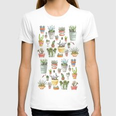 Potted Succulents Womens Fitted Tee MEDIUM White