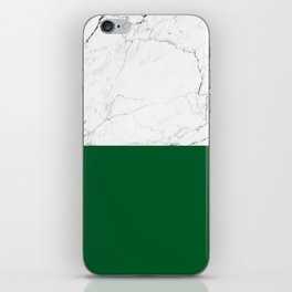 emerald green and white marble iPhone Skin
