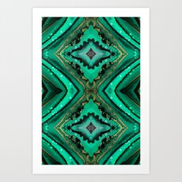 Malachite-inspired alcohol ink art with hints of emerald green, gold and black Art Print