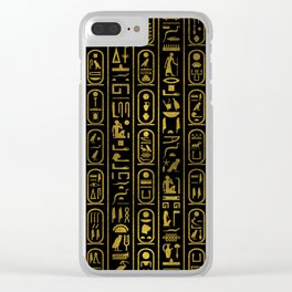 Egyptian Ancient Gold hieroglyphs on black Clear iPhone Case