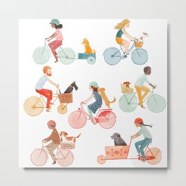 Biking With Dog Metal Print