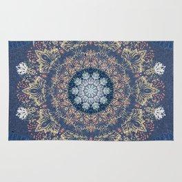 Blue's Golden Mandala Rug