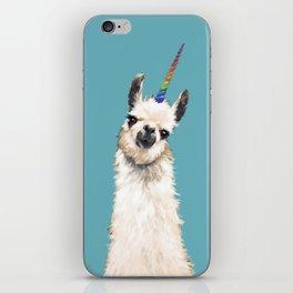 Unicorn Llama Blue iPhone Skin