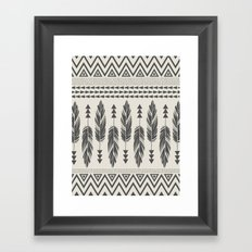 Tribal Feathers-Black & Cream Framed Art Print