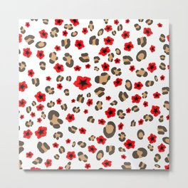 Romantic Leopard Print and Flowers on White Metal Print