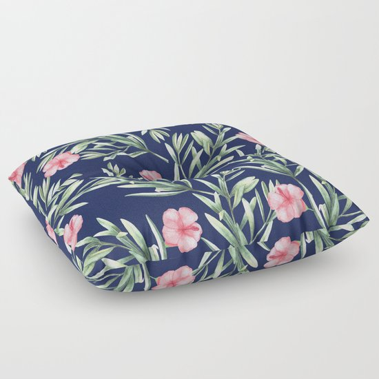 Delicate Hibiscus Blue Floor Pillow