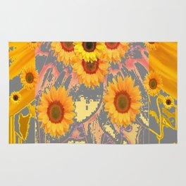 MODERN ART YELLOW SUNFLOWERS  GREY ABSTRACT Rug