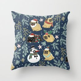 Christmas Pugs Throw Pillow