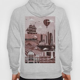 Melbourne Travel Poster Illustration Hoody