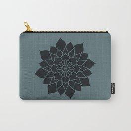Mandala flower, dark grey geometrical floral pattern Carry-All Pouch
