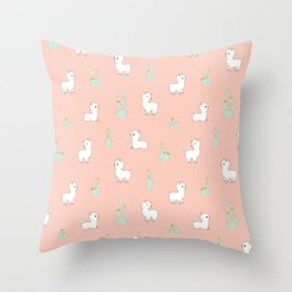 cactus and alpaca pattern Throw Pillow
