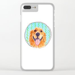 You're Never Fully Dressed without a Smile, Golden Retriever, Whimsical Watercolor Painting, White Clear iPhone Case