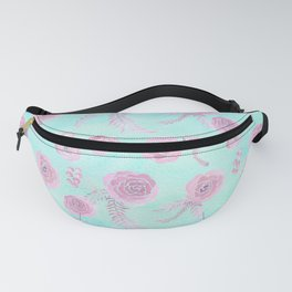Peony Pattern Pink And Mint Fanny Pack