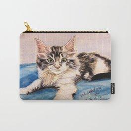Original Pet Animals Artwork (non-profit) - Maine Coon Kitten Cat Pastel Carry-All Pouch