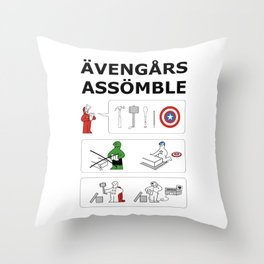 Superheroes Assembling - Colour Throw Pillow