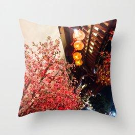 Nature in asian street Throw Pillow