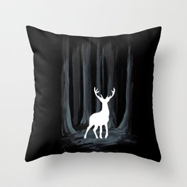Glowing White Stag Throw Pillow