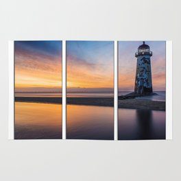 Sunset at the Lighthouse Tryptych Rug