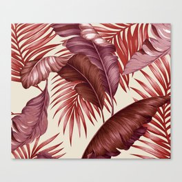 HAWAIIAN GARDEN TROPICAL LEAVES| burgundy ivory Canvas Print
