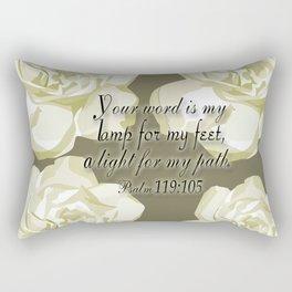 Scripture Gray,White Rose Rectangular Pillow
