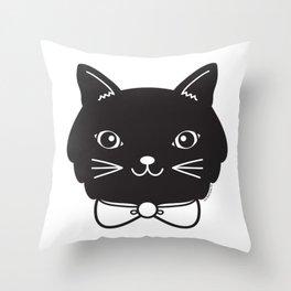 Dapper Black Kitty Cat Throw Pillow