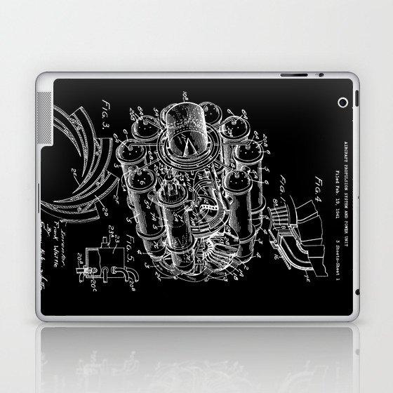 Jet Engine: Frank Whittle Turbojet Engine Patent - White on Black Laptop &  iPad Skin by constantchaos