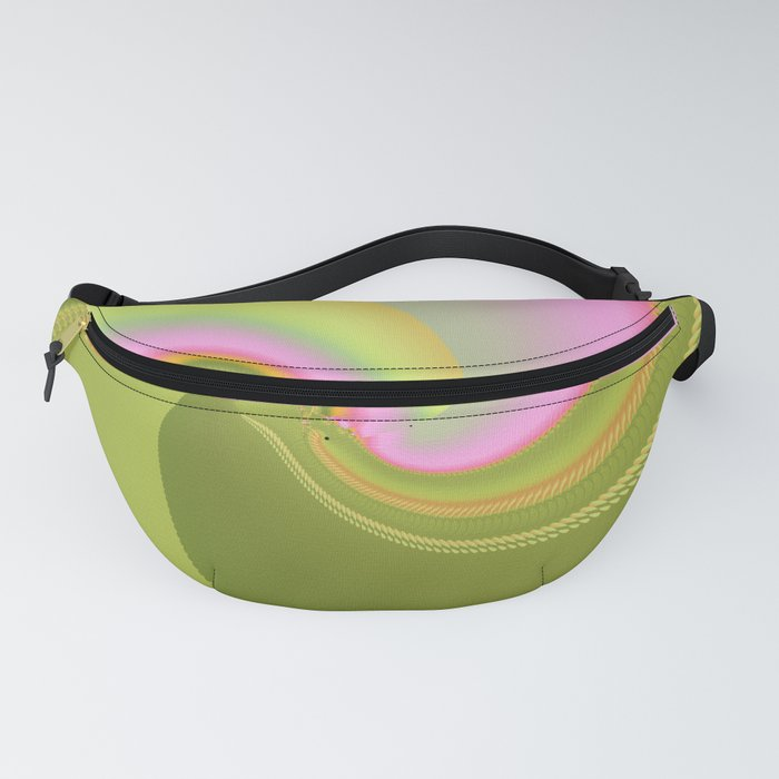 Pink and Green Curves Fractal Abstract Art Fanny Pack