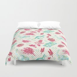 Beautiful Australian Animals and Flowers on Gold Polka Dots Duvet Cover