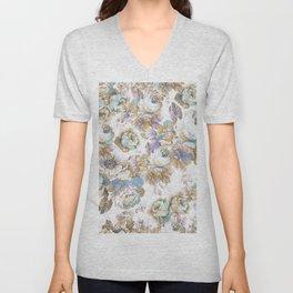 Vintage blush lavender brown teal blue roses floral Unisex V-Neck